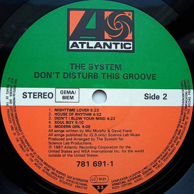 The System Don T Disturb This Groove Atlantic Records
