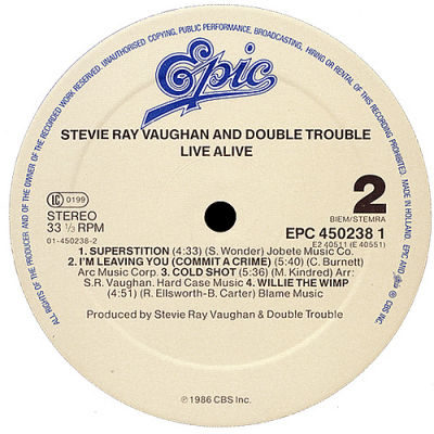 Stevie Ray Vaughan And Double Trouble Live Alive Epic