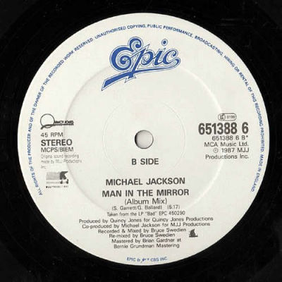Michael Jackson Man In The Mirror Epic Records